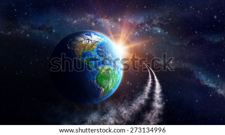 Illuminated face of the Earth in outer space, celestial body in orbit. View of American continent. Elements of this image furnished by NASA