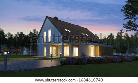 Illuminated family home with garden in the evening in the dark (3D Rendering)