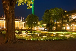 Illuminated fountain at night in Copenhagen
