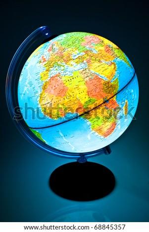 Illuminated Globe on a black backgroumd