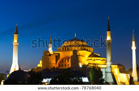 Illuminated Hagia Sophia during the blue hour, Istanbul, Turkey