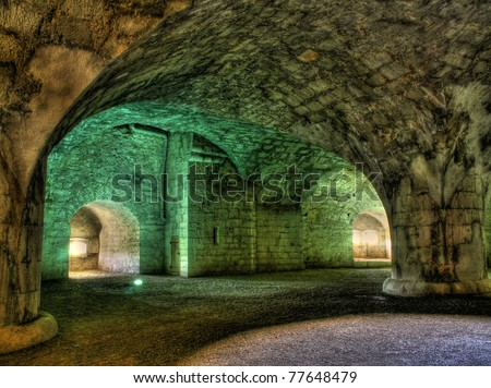 Illuminated interior of the ancient fortress Munot in Switzerland (hdr version)