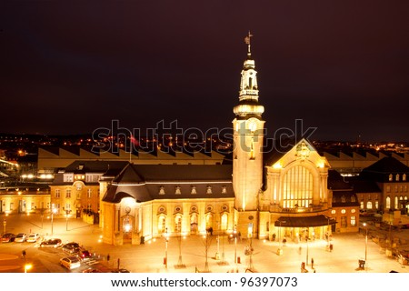 Illuminated Luxembourg Railway station at night in Gare, Luxembourg city