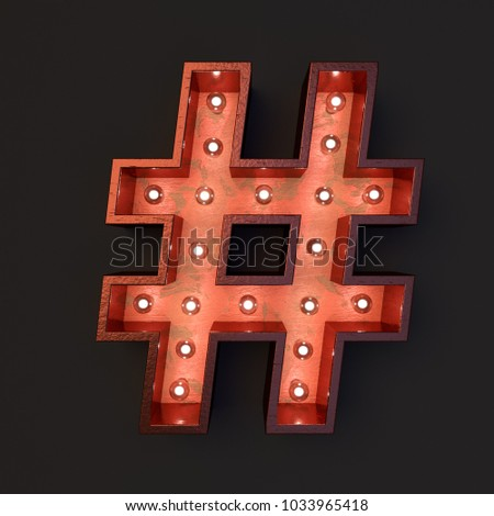 Illuminated marquee light bulb hash tag #1033965418