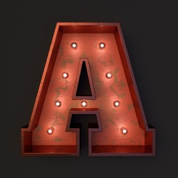 Illuminated marquee light bulb letter A