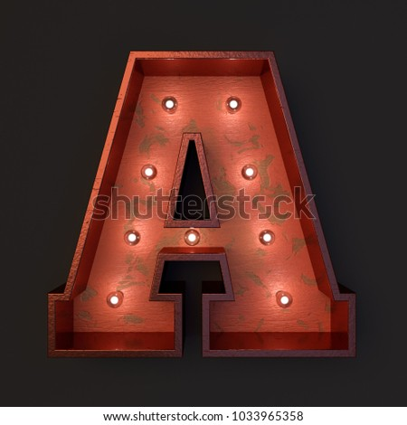 Illuminated marquee light bulb letter A #1033965358