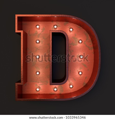 Illuminated marquee light bulb letter D #1033965346