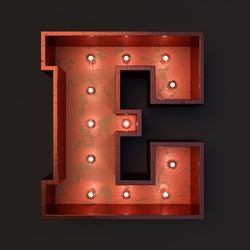 Illuminated marquee light bulb letter E