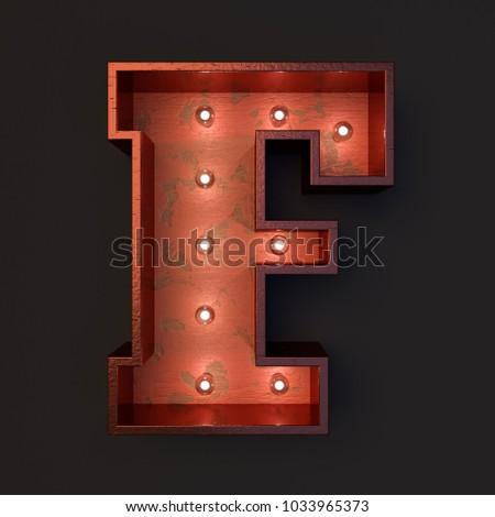 Illuminated marquee light bulb letter F #1033965373