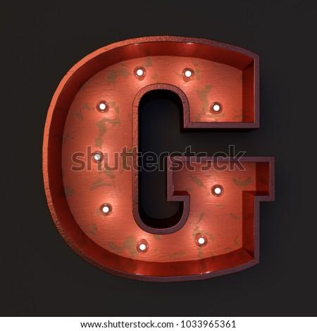 Illuminated marquee light bulb letter G #1033965361