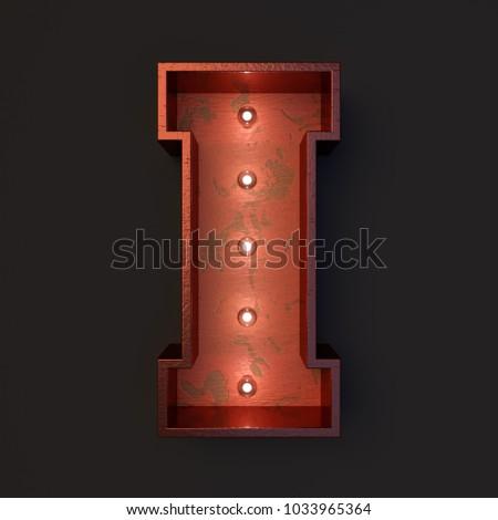 Illuminated marquee light bulb letter I #1033965364