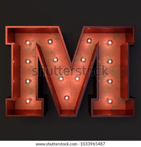 Illuminated marquee light bulb letter M #1033965487