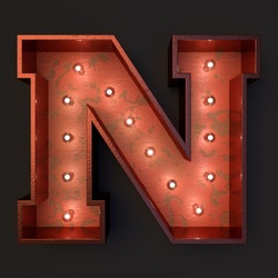 Illuminated marquee light bulb letter N
