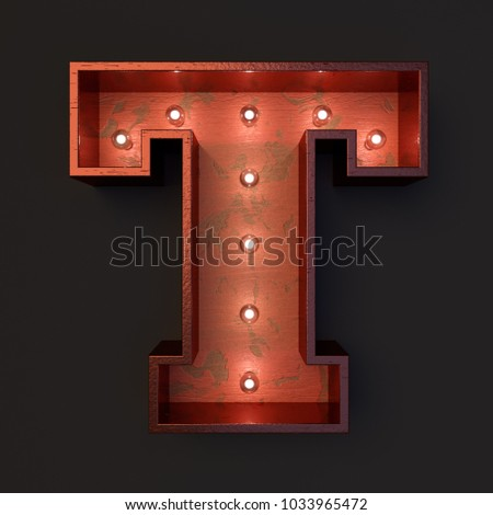 Illuminated marquee light bulb letter T #1033965472