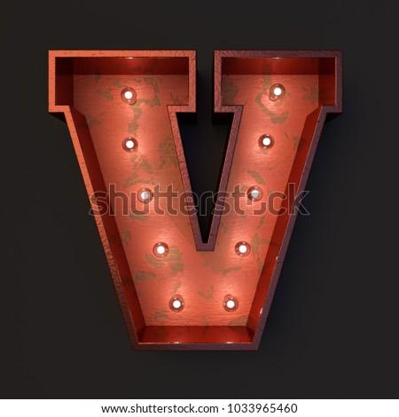 Illuminated marquee light bulb letter V #1033965460