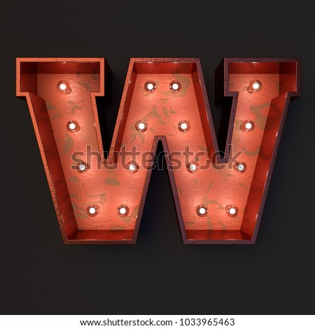Illuminated marquee light bulb letter W #1033965463