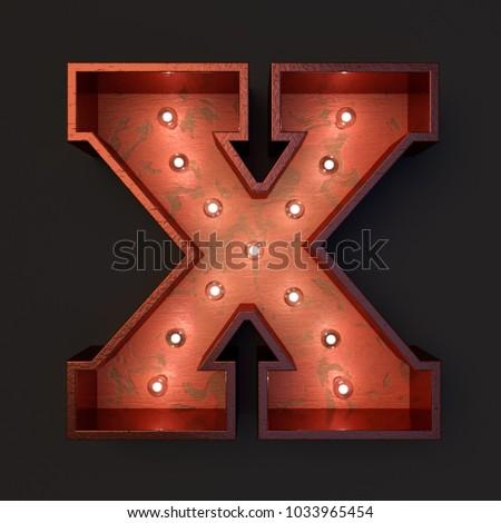 Illuminated marquee light bulb letter X #1033965454