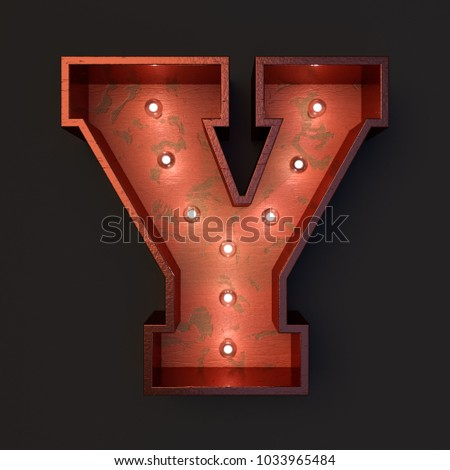 Illuminated marquee light bulb letter Y #1033965484