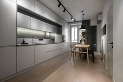 Illuminated modern kitchen with light walls and a parquet. There are gray lockers, sink with faucet, stove, oven, wooden table with vase and chairs, window with curtain, different lamps, door.