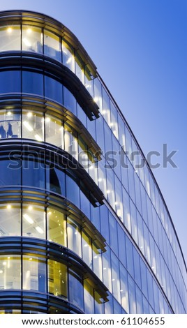 Illuminated Office Building at twilight, London