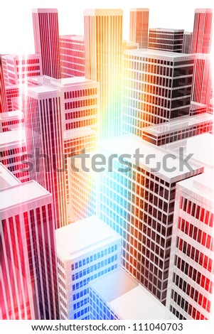 Illuminated office buildings in the city