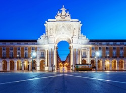 Illuminated ornate archway in Commerce Square, Lisbon, Lisbon, Portugal