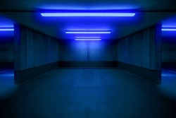 illuminated parking lot / underground car parking spot
