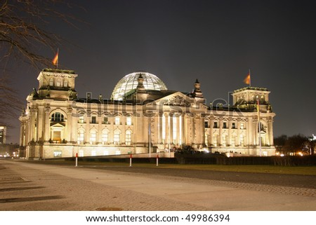 Illuminated Reichstag building in Berlin, Germany