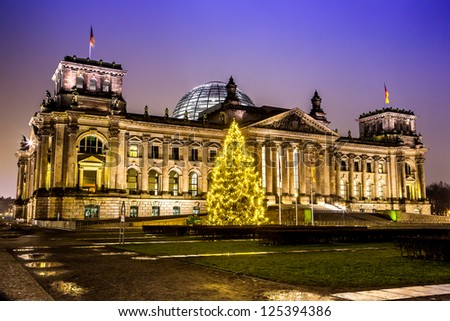 Illuminated Reichstag building in Berlin, Germany on christmas