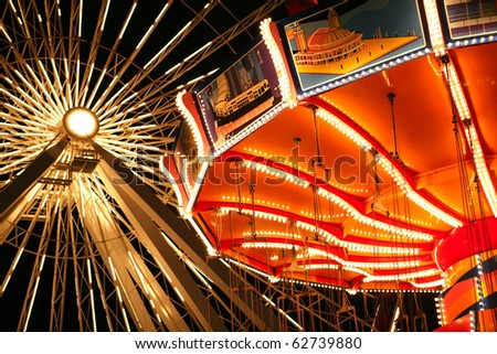 Illuminated rides at Navy Pier, Chicago