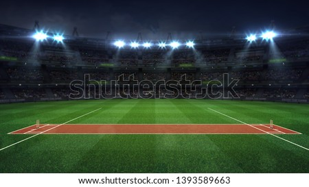Illuminated round cricket stadium full of fans at night upper side view, modern public sport building background 3D render series