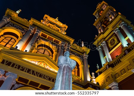Shutterstock Illuminated San Francisco Church in Salta, Argentina at night