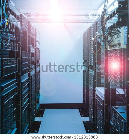 Illuminated server rack in server room