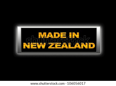 Illuminated sign with Made in New Zealand.