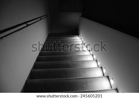 Illuminated stairs in the building. Suspense background. Black and white. #245605201