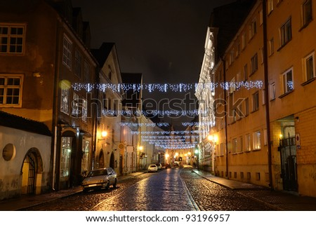 Illuminated street in old part of Tallinn by night