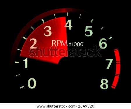 Illuminated tachometer revving up.