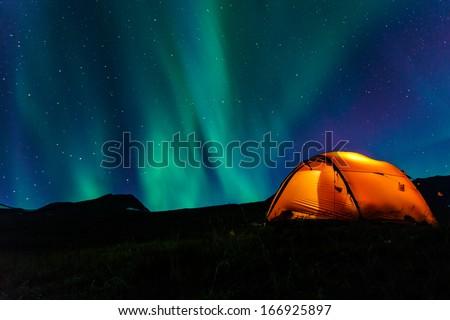 illuminated tent and northern...