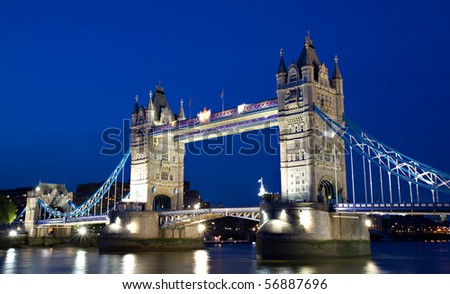 Illuminated Tower Bridge during the Blue Hour, London, England