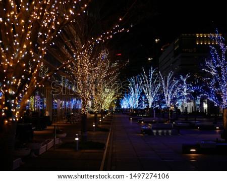 Illuminated trees and city landscape