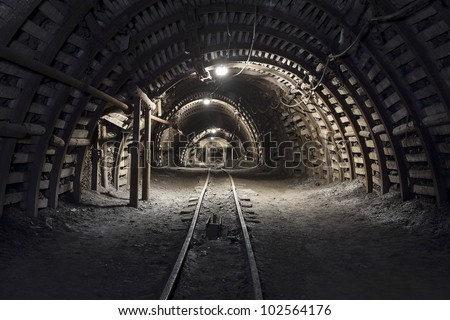 Illuminated, Underground Tunnel in the Mine
