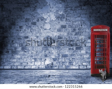 illuminated vintage wall and street design with british phone box and tomcat