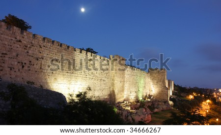 Illuminated wall of the David Tower, Jerusalem