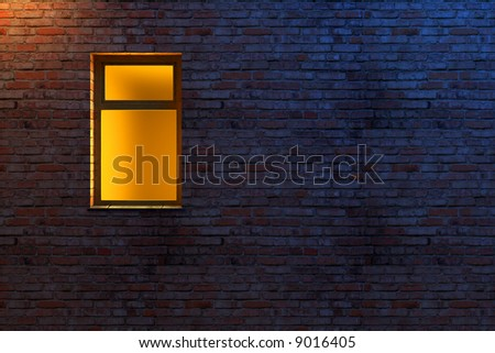 illuminated window on a brick wall 3d scene