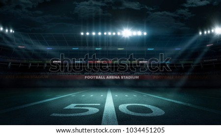 illuminated with floodlights at hollow stadium in evening #1034451205
