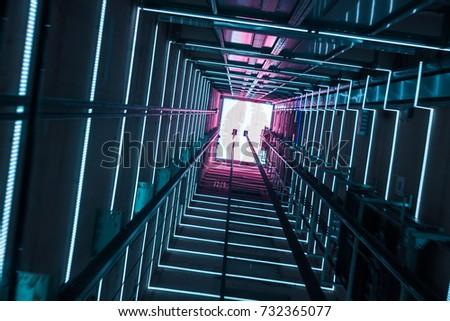 Illumination in a glass elevator