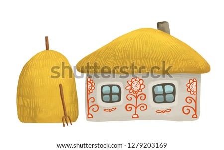 Illustartion of  old small house with two windows and thatched roof with a stack of hay isolated on white background. Drawing hut in kids style