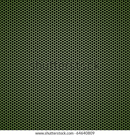 Illustrated Abstract green hexagon seamless tile black background