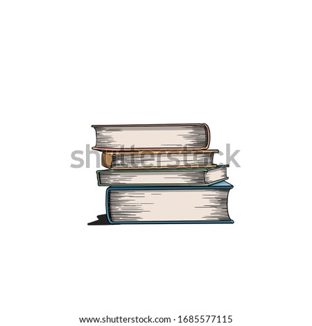 illustrated books in different colours Stok fotoğraf ©