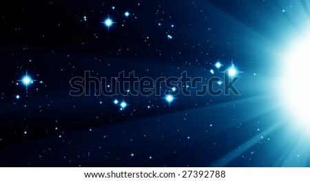 Illustrated bright blue stars